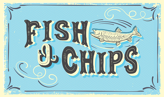 Cute hand lettered Fish N' Chips sign with fish and lot's of textures