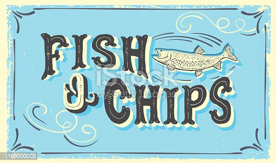 Vector illustration of a cute hand lettered Fish N' Chips sign with fish and lot's of textures. Fully editable. EPS 10.