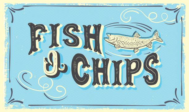Cute hand lettered Fish N' Chips sign with fish and lot's of textures vector art illustration