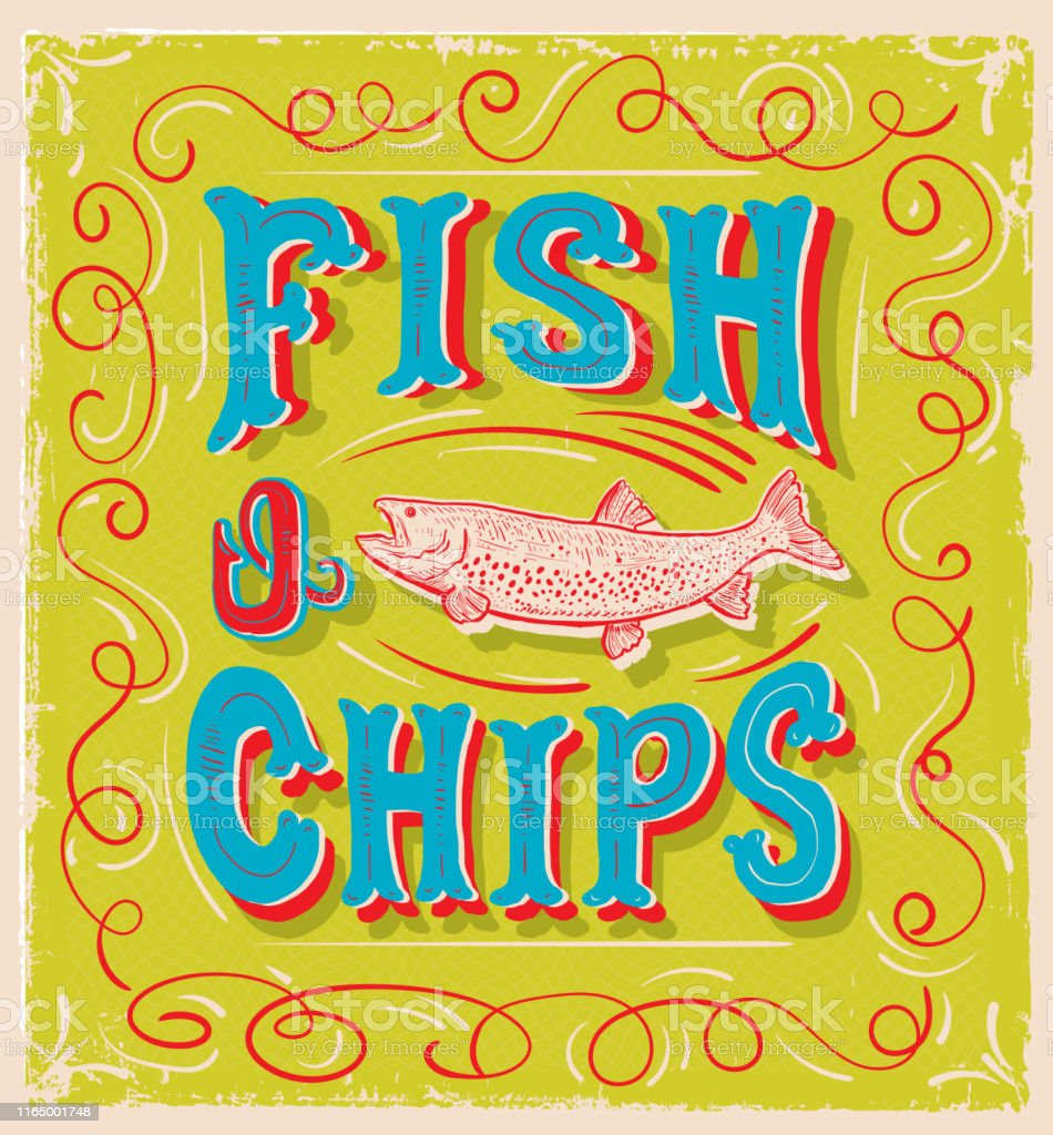 Vector illustration of a cute hand lettered Fish N\' Chips sign with...