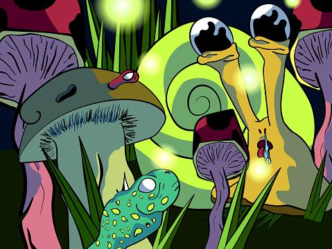 Cute hand-drawn cartoon color illustration - Snail among mushrooms.