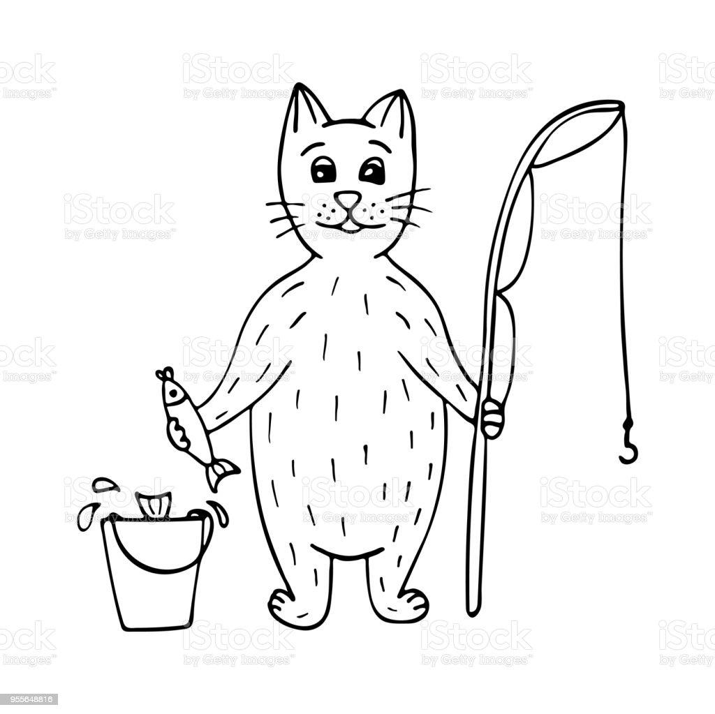 Ilustración de Pescador De Gato Lindo Dibujado A Mano Con Peces Y ...