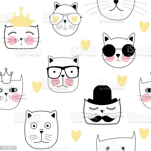 Cute handdrawn cat seamless pattern vector illustration vector id590286572?b=1&k=6&m=590286572&s=612x612&h=ip8kc eq uushdde1nqjodrgn7cddhw90iqsr5lqxx4=