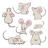 Cute hand-drawn mouses with different poses on white background