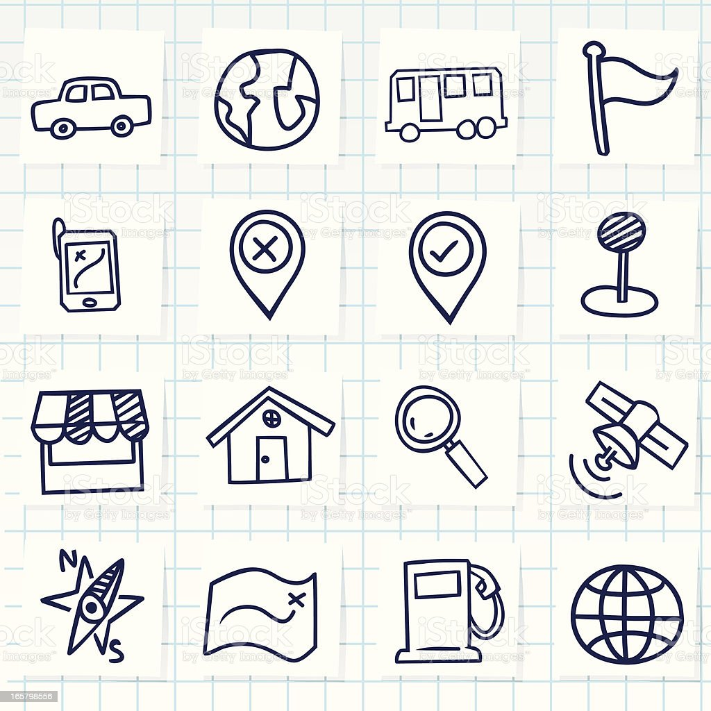 Cute hand-drawn navigator icons royalty-free cute handdrawn navigator icons stock vector art & more images of arrival