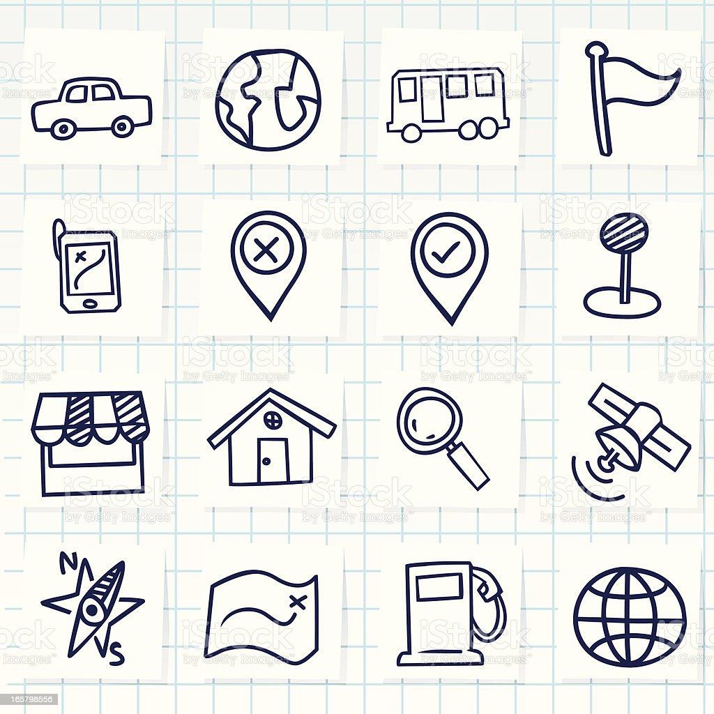 Cute hand-drawn navigator icons royalty-free stock vector art