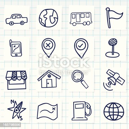 Vector File of Doodle Navigator Icon Set