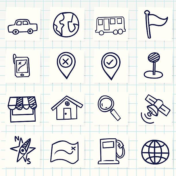 stockillustraties, clipart, cartoons en iconen met cute hand-drawn navigator icons - potloodtekening