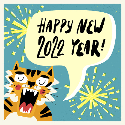 Cute hand-drawn tiger, the symbol of 2022 year, screams Happy New Year, sparklers and fireworks on the background. Greeting card, banner design with hand lettering. Cartoon vector illustration.