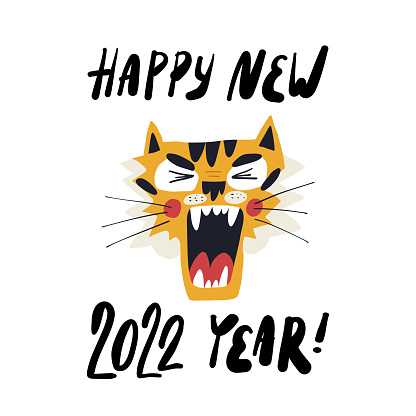 Cute hand-drawn tiger, the symbol of 2022 year, screams Happy New Year. Greeting card, banner design with hand lettering. Cartoon vector isolated illustration.