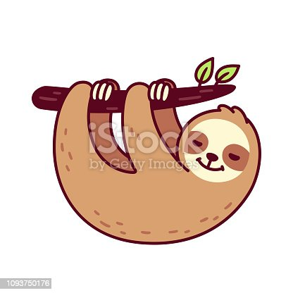 Cute sloth hanging from tree branch. Funny hand drawn cartoon character vector illustration.