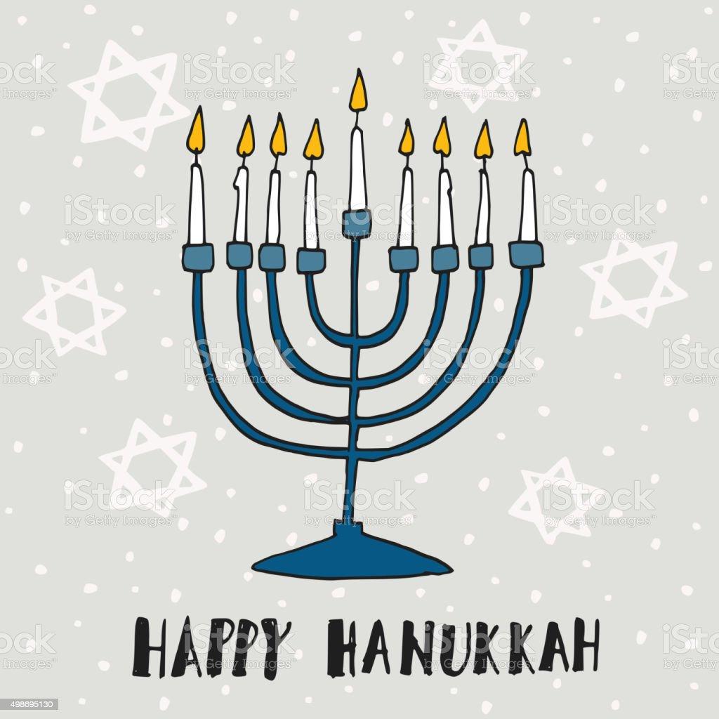 Cute hanukkah greeting card invitation with hand drawn menorah cute hanukkah greeting card invitation with hand drawn menorah vector royalty free cute m4hsunfo