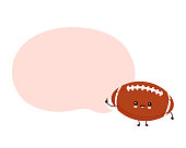 Cute happy american football rugby ball with speech bubble. Vector flat cartoon character illustration icon design.Isolated on white background.  Rugby ball character concept
