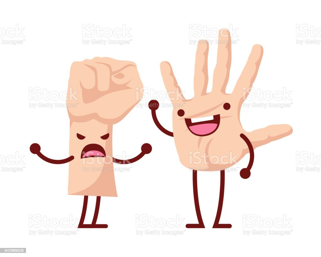 Cute Happy And Strong Palm Hand Couple Cartoon Character ...