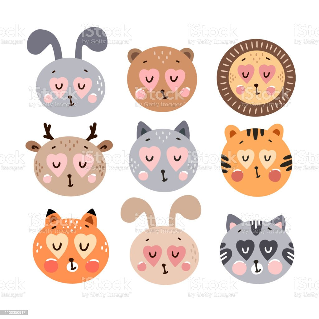 Cute happy animals collection. Happy Valentine\'s day postcard. Vector...