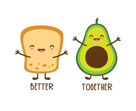 Cute Happy Avocado and Toast with Face Vector Illustration