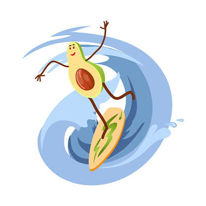 Cute happy avocado character is surfing on ocean wave