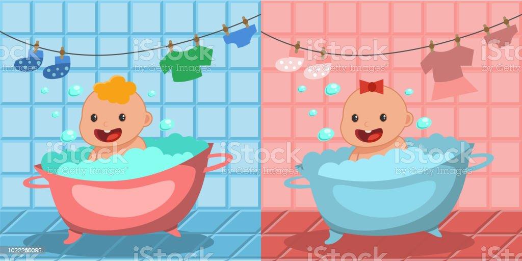 Cute Happy Baby Bath Boy And Girl Bathing In A Tub With Foam Bubbles ...