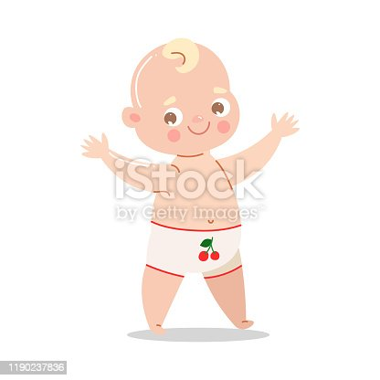 istock Cute happy baby in white underpants standing and smiling. Vector illustration in flat cartoon style. 1190237836
