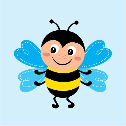 Cute Happy Bee Vector - Stockowe grafiki wektorowe i więcej obrazów Bazgroły - Rysunek
