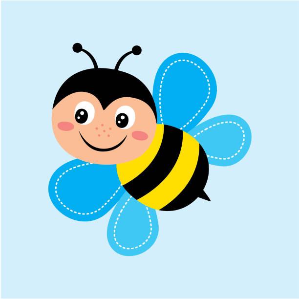 süße Biene glücklich Vektor – Vektorgrafik