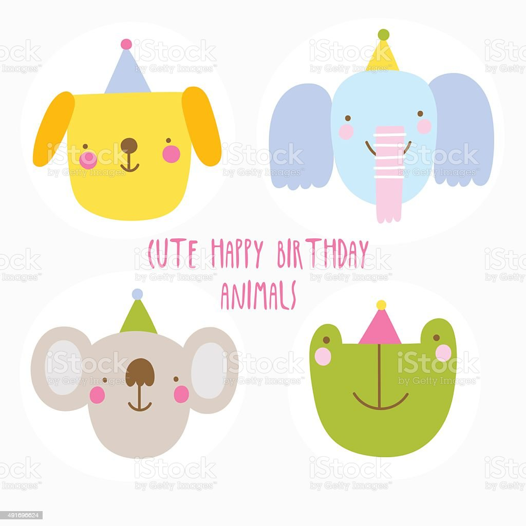 Cute Happy Birthday animal characters. vector art illustration