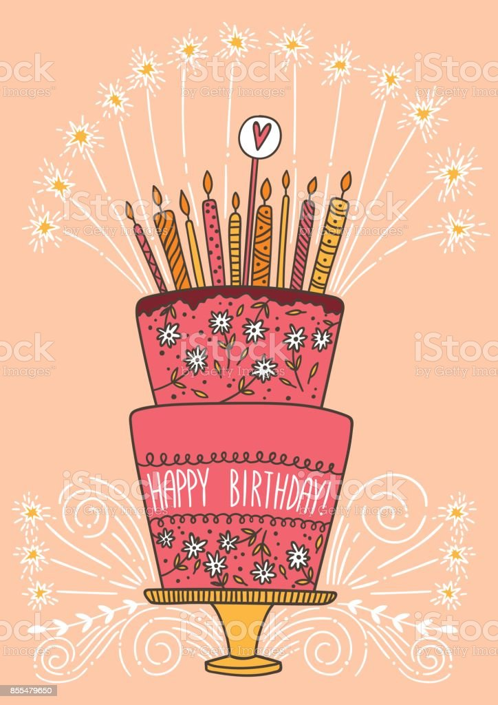 Cute Happy Birthday Cake With Candles And Fireworks Vector