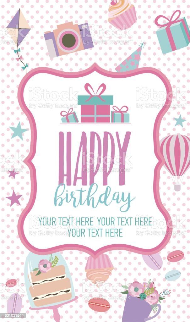 Birthday Card Template | Cute Happy Birthday Card Template Stock Vector Art More Images Of