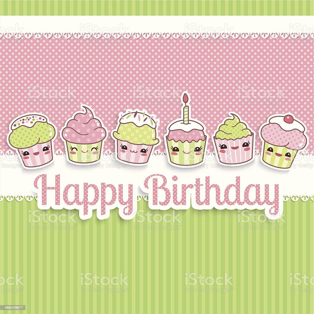 Cute happy birthday card royalty-free stock vector art