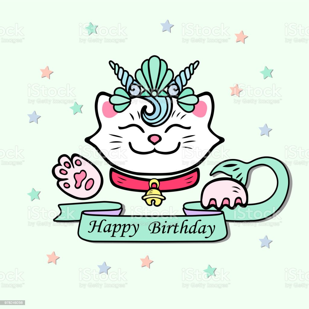 cute happy birthday card with cat marimaid sea shell crown stock
