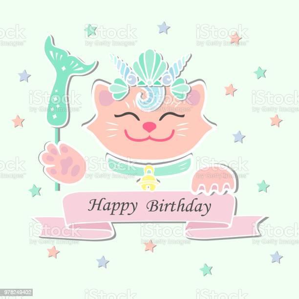 Cute happy birthday card with cat marimaid sea shell crown vector id978249402?b=1&k=6&m=978249402&s=612x612&h=v3sd5dttmszk8flav1u1gmfs 6zvjpcaeqle00oil4q=