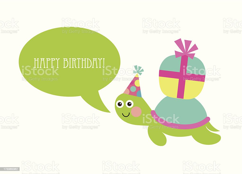 Cute Happy Birthday Card With Fun Turtle Stock Vector Art More