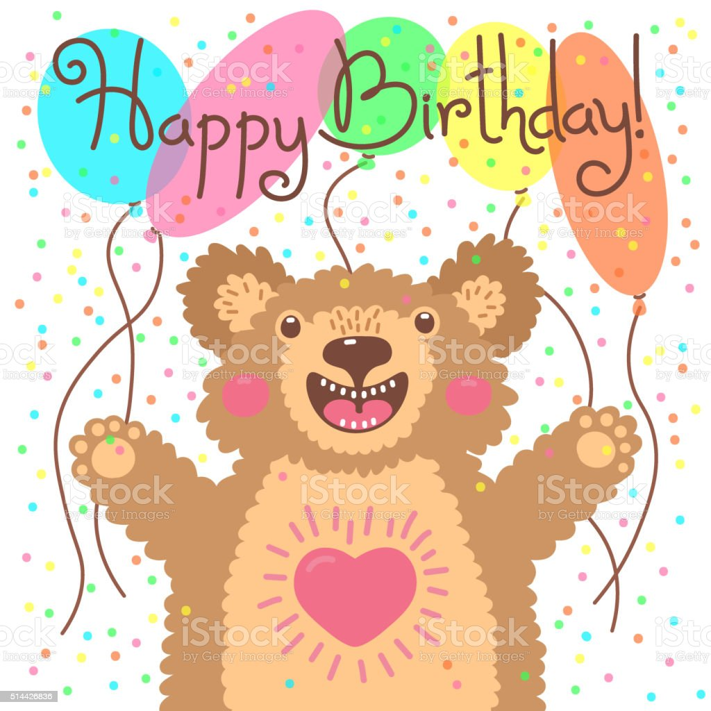 Cute happy birthday card with funny bear stock vector art more cute happy birthday card with funny bear royalty free cute happy birthday card with funny bookmarktalkfo Images