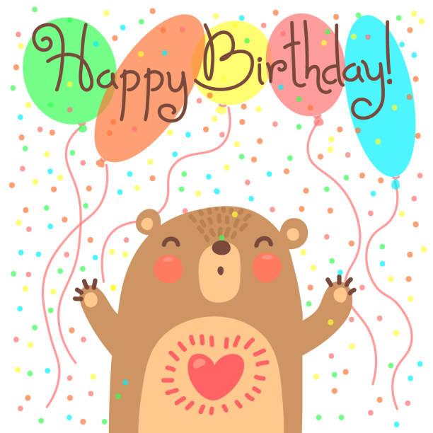 illustrations, cliparts, dessins animés et icônes de joli carte de joyeux anniversaire avec drôle ours - ballon anniversaire smiley