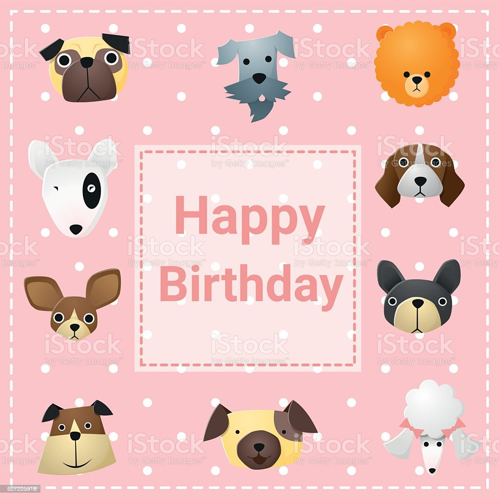 cute happy birthday card with funny dogs stock vector art more