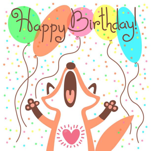 illustrations, cliparts, dessins animés et icônes de joli carte de joyeux anniversaire avec drôle renard - ballon anniversaire smiley