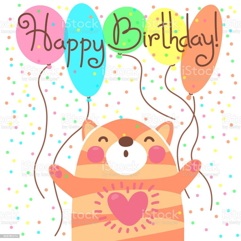 Cute Happy Birthday Card With Funny Kitten stock vector art – Happy Birthday Card Cute