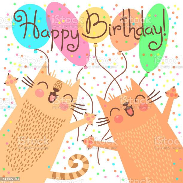 Cute happy birthday card with funny kittens vector id514427044?b=1&k=6&m=514427044&s=612x612&h=qrmr sgkywxa7xgb0sjdpeoxpzfndwfhfvvhl9lsbuu=