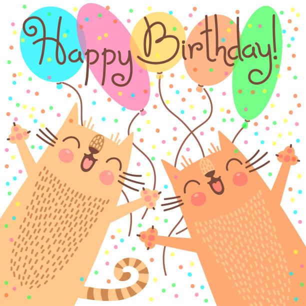 illustrations, cliparts, dessins animés et icônes de joli carte de joyeux anniversaire avec drôle chatons - ballon anniversaire smiley