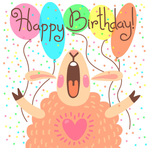 illustrations, cliparts, dessins animés et icônes de joli carte de joyeux anniversaire avec drôle d'agneau - ballon anniversaire smiley