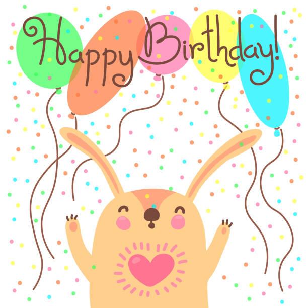 illustrations, cliparts, dessins animés et icônes de joli carte de joyeux anniversaire avec drôle albert - ballon anniversaire smiley