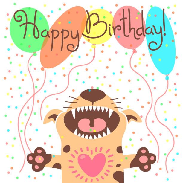 illustrations, cliparts, dessins animés et icônes de joli carte de joyeux anniversaire avec drôle de chiots - ballon anniversaire smiley