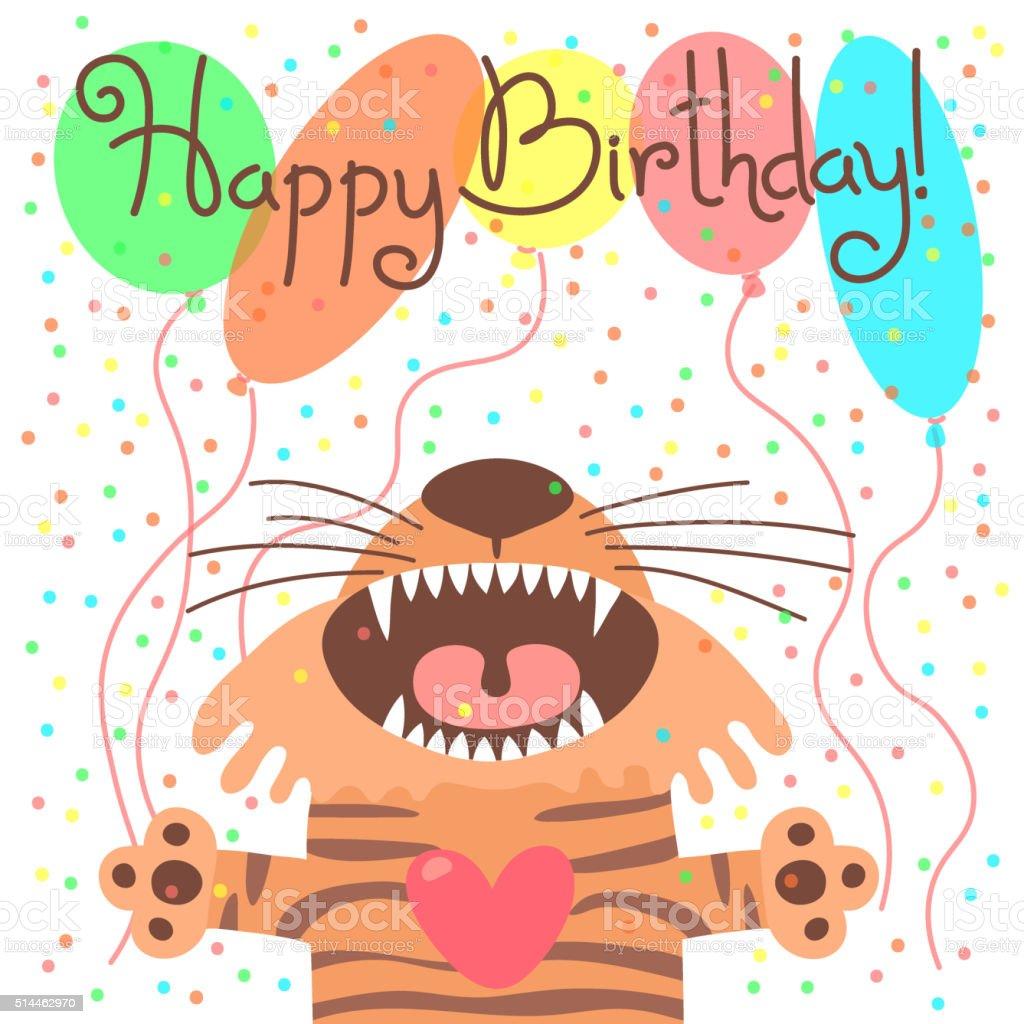 Картинка с днем рождения с тигром