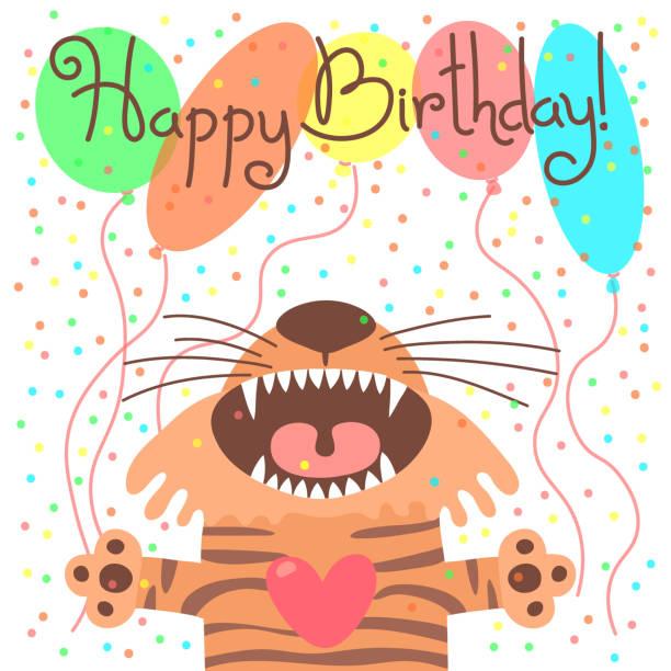 illustrations, cliparts, dessins animés et icônes de joli carte de joyeux anniversaire avec drôle de tigre - ballon anniversaire smiley