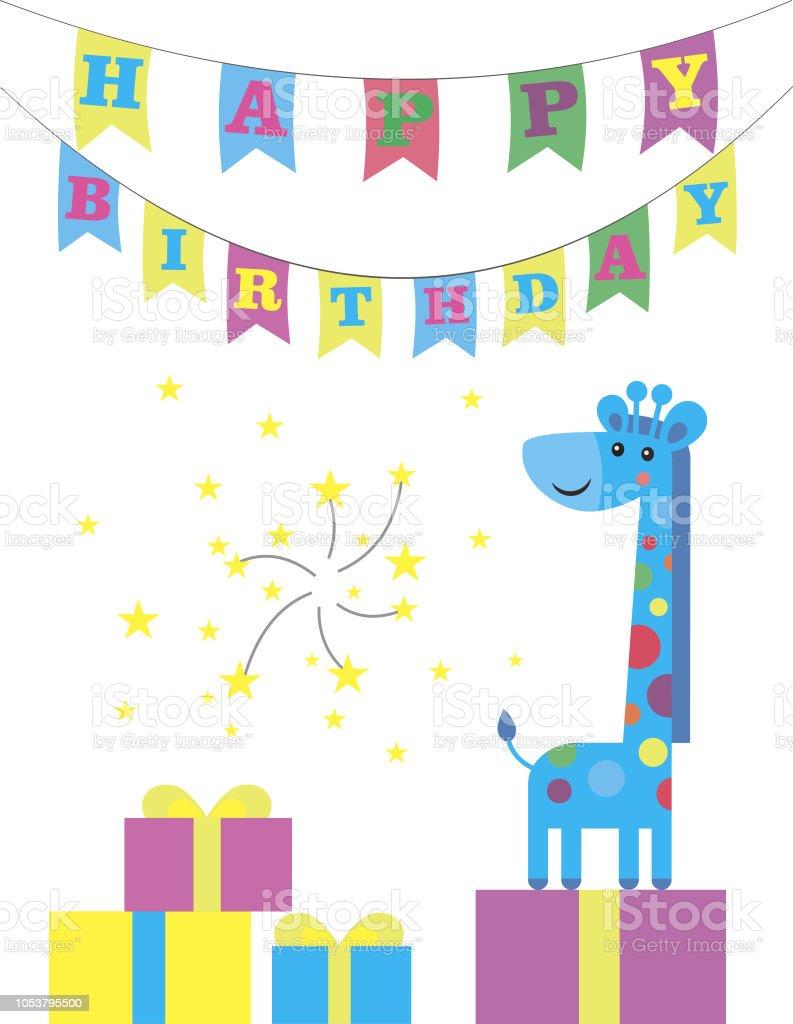 Cool Cute Happy Birthday Card With Nice Giraffe Vector Illustration Funny Birthday Cards Online Overcheapnameinfo