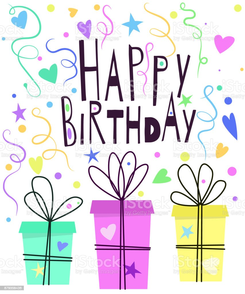 Cute Happy Birthday Greeting Card Design With Gift Boxes Hearts