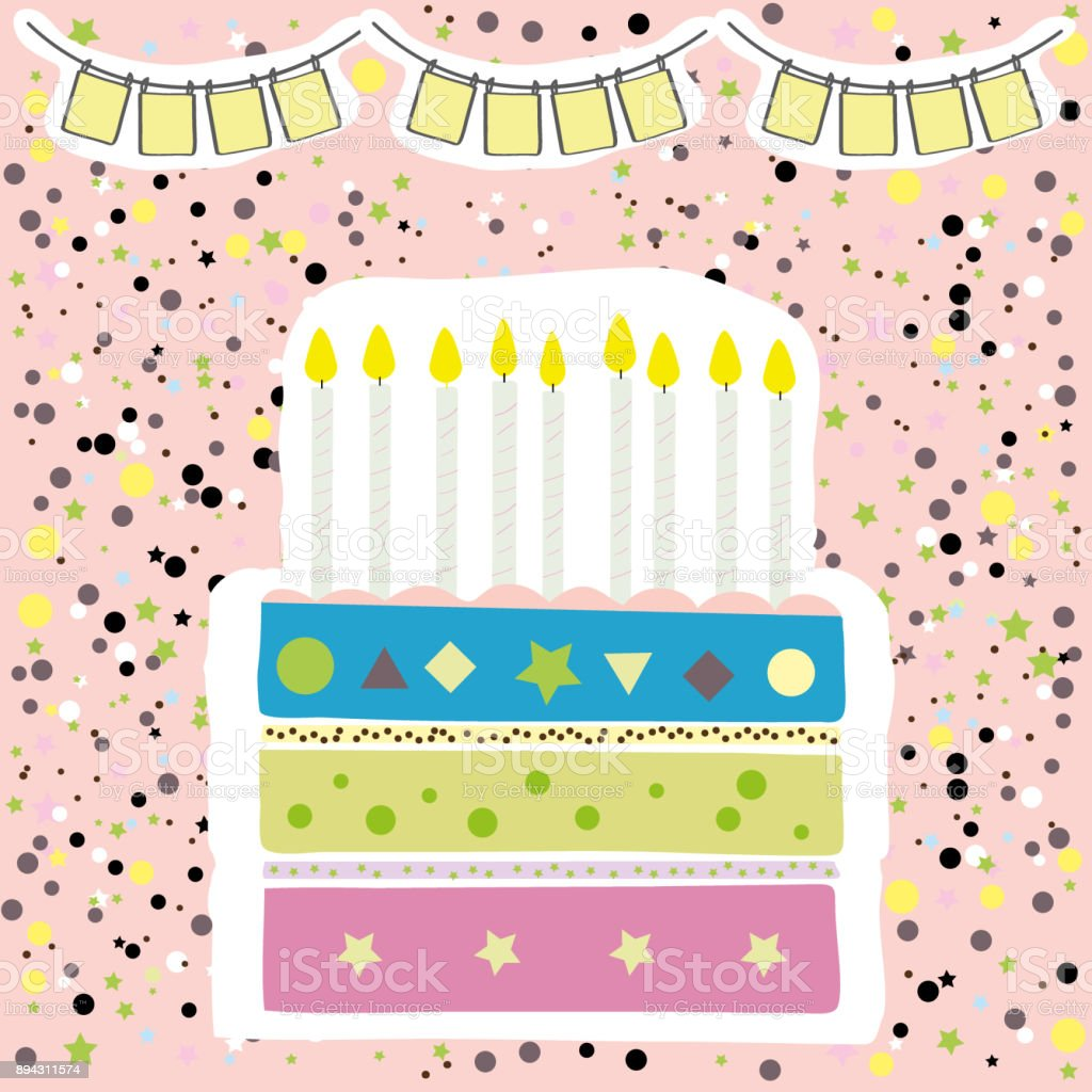 Cute Happy Birthday Party Card With Cake And Candles Royalty Free Stock Vector Art