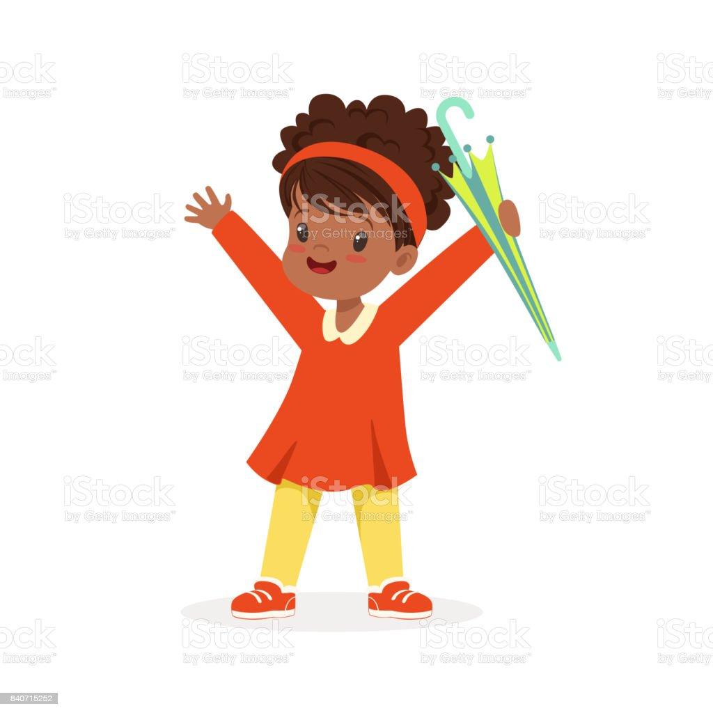 Cute Heureuse Noire Petite Fille Debout Et Tenant De Vecteur