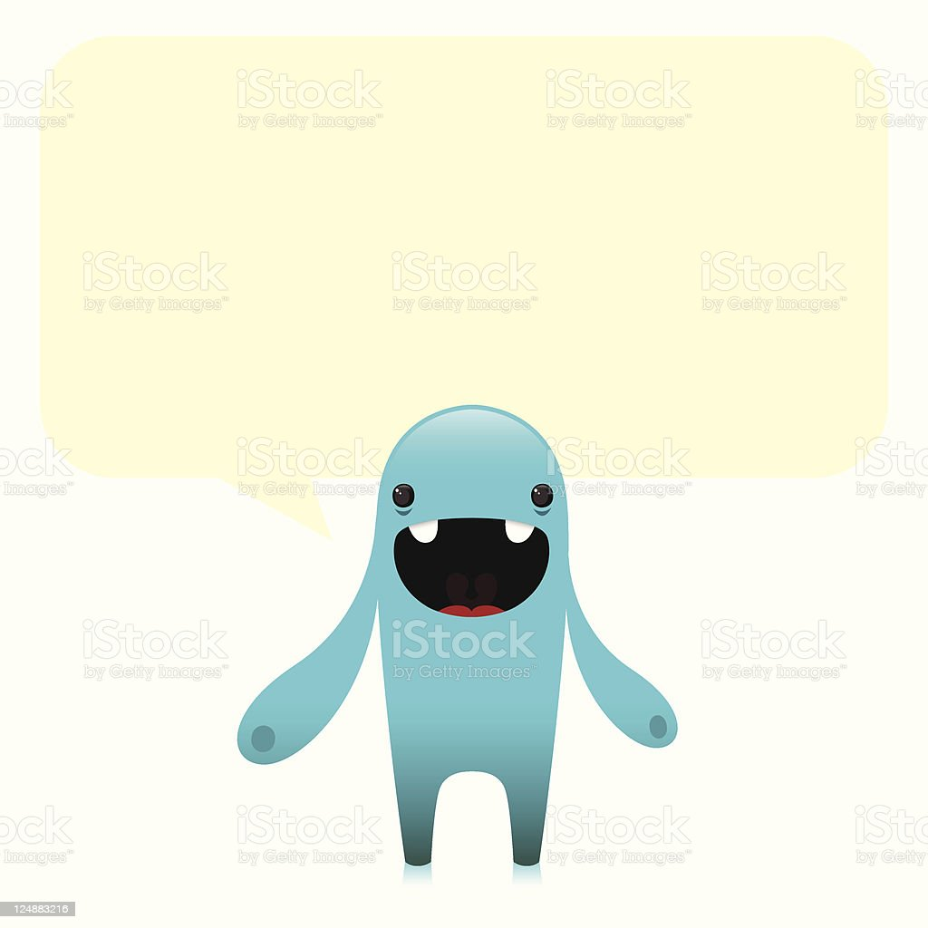 Cute Happy Blob Character With Speech Bubble royalty-free stock vector art