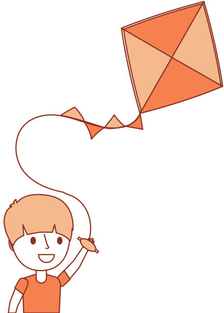 Royalty Free Drawing Of Boy Flying Kite Clip Art, Vector ...